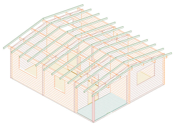 Modelo arlazon de 42m2 casas de madera en tenerife y mas - Casas de madera laminada ...