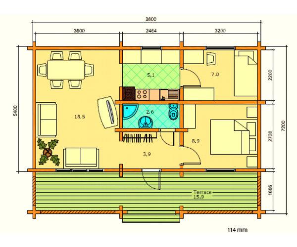 Modelo elly 62m2 casas de madera en tenerife y mas - Casas de madera tenerife precios ...