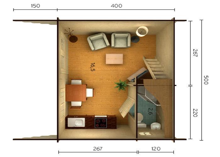 Casas de madera de 19,20 m2 + 9,7 m2