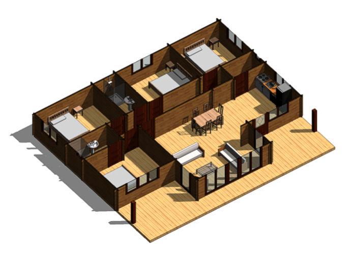 Casas de madera modelo francia moderna de 134 m2 for Casa moderna 140 m2