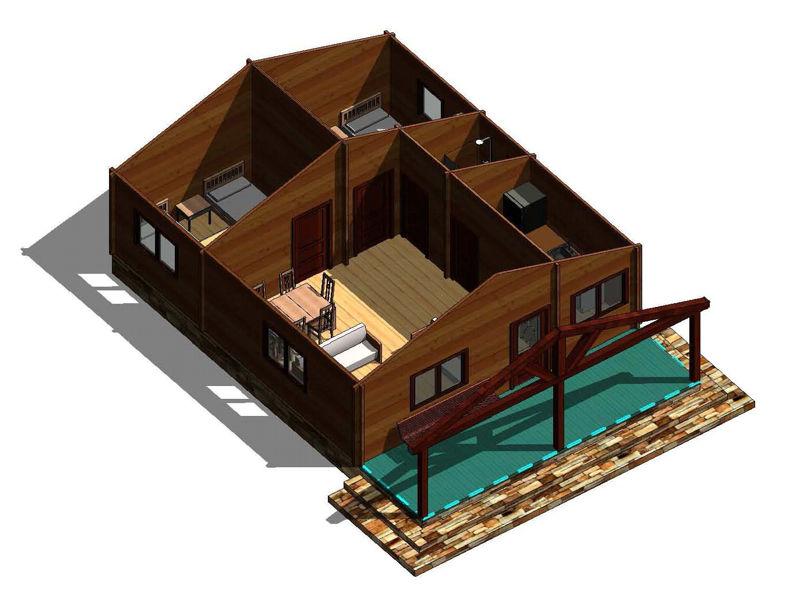Casas de madera modelo galicia de 70 m2 for Tejados de madera en galicia