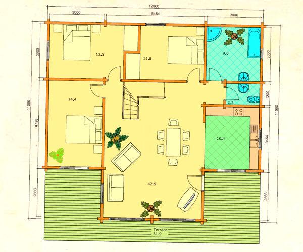 Modelo gerda 155 m2 casas de madera en tenerife y mas - Casas de madera tenerife precios ...