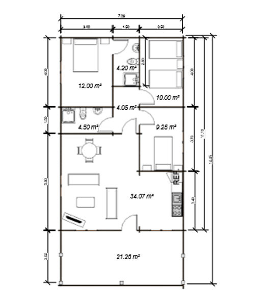 Casas de madera de 78 m2 + 22 m2 de terraza