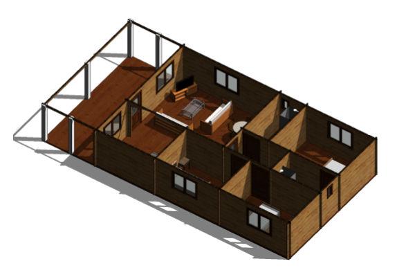 Casas de madera modelo girona de 78 m2 22 m2 de terraza for Casas de madera para terrazas
