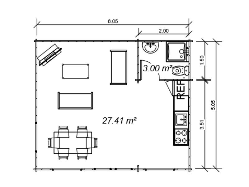 Casas de madera modelo heidi de 30 m2 c ba o for Precio m2 alicatado bano