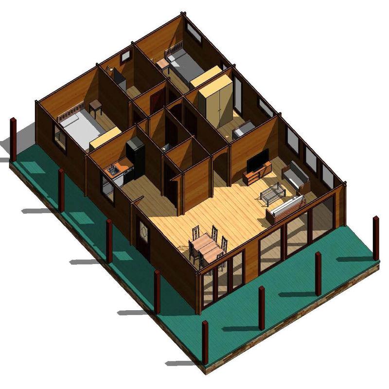 Casas de madera modelo irrueta de 100 m2 38 m2 de porche - Planos casa madera ...