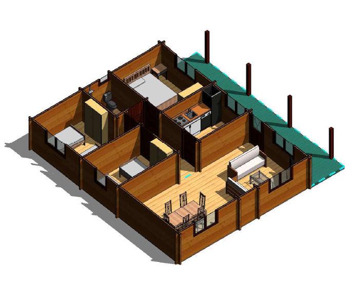 Casas de madera modelo kristy de 105 m2 for Tejados de madera precio m2