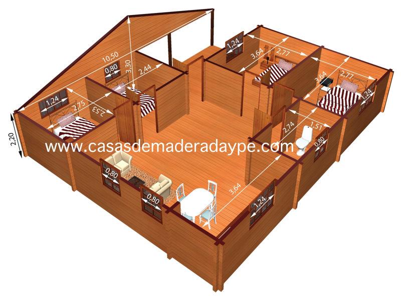Casas de madera modelo kristy iii de 90 m2 for Tejados de madera casas