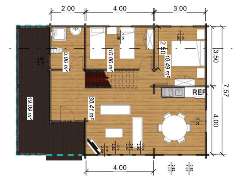 Casas de madera de 105 m2 c/2 baños