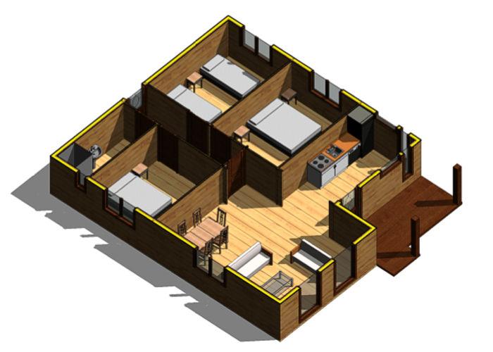 Casas de madera modelo mexico de 80 m2 8 m2 de terraza - Catalogo de casas prefabricadas ...