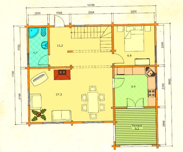 Modelo olivia 105 m2 casas de madera en tenerife y mas - Casas de madera tenerife precios ...