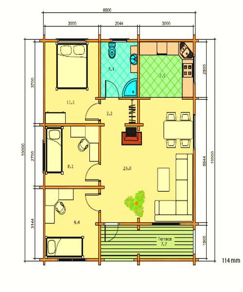 Modelo regina 78 m2 casas de madera en tenerife y mas - Casas de madera tenerife precios ...