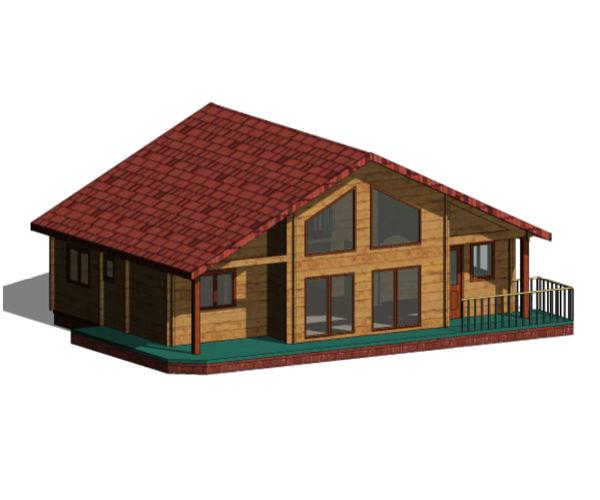 Casas de madera modelo tarragona ii de 117 m2 31 m2 terraza - Tejas para casas de madera ...