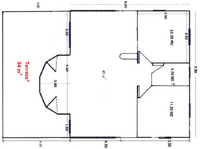 Casas de madera de 68 m2 + 34 m2 de terrazas