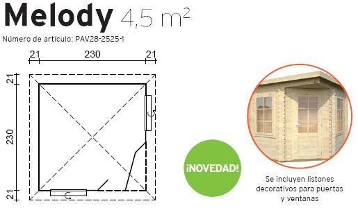 Casas de madera modelo melody de medidas 2 50 x 2 50 - Casetas de madera a medida ...